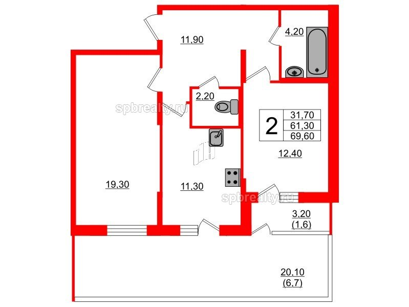 Планировка Двухкомнатная квартира площадью 69.6 кв.м в ЖК «Энфилд»