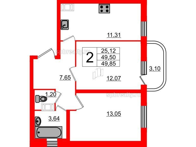 Планировка Двухкомнатная квартира площадью 49.85 кв.м в ЖК «Энфилд»