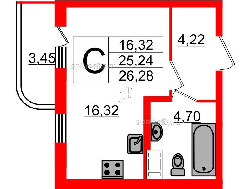 Планировка Студия площадью 26.28 кв.м в ЖК «Энфилд»