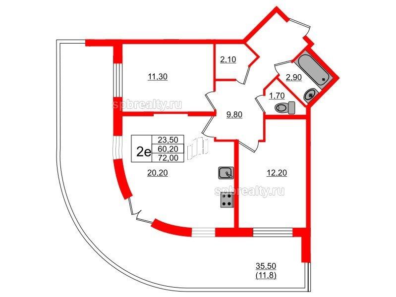 Планировка Двухкомнатная квартира площадью 72 кв.м в ЖК «Энфилд»