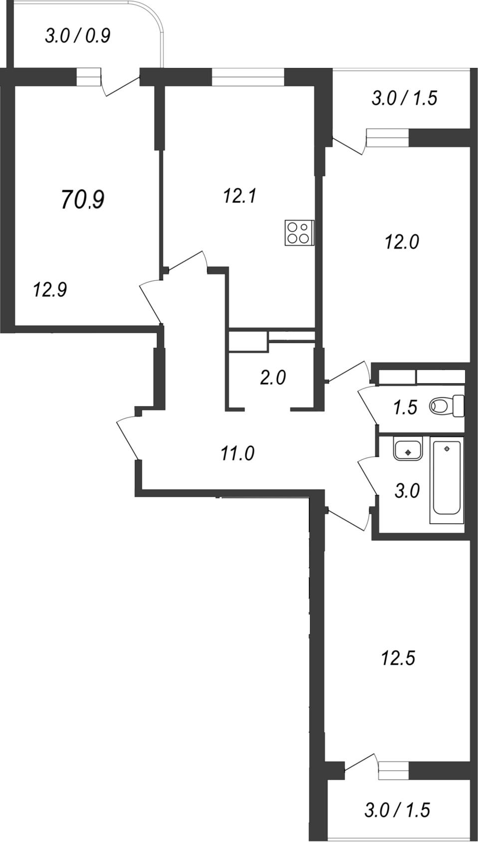 Планировка Трёхкомнатная квартира площадью 76 кв.м в ЖК «Энфилд»