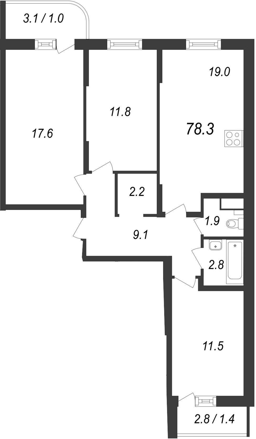 Планировка Трёхкомнатная квартира площадью 82.03 кв.м в ЖК «Энфилд»