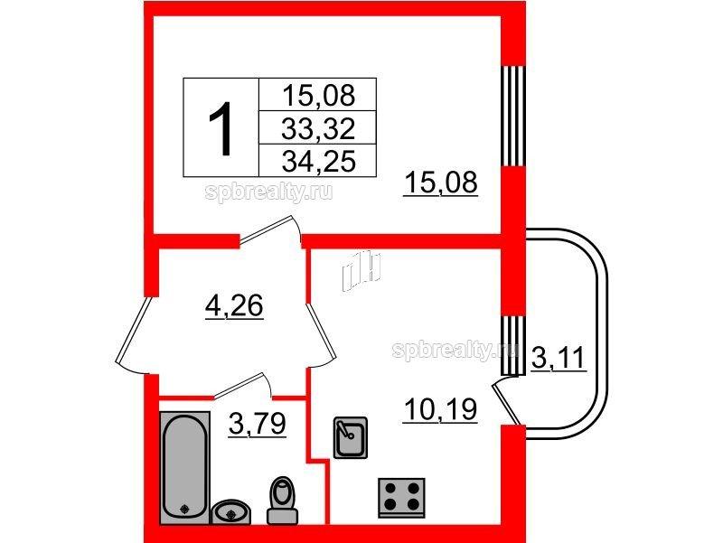 Планировка Однокомнатная квартира площадью 34.25 кв.м в ЖК «Энфилд»