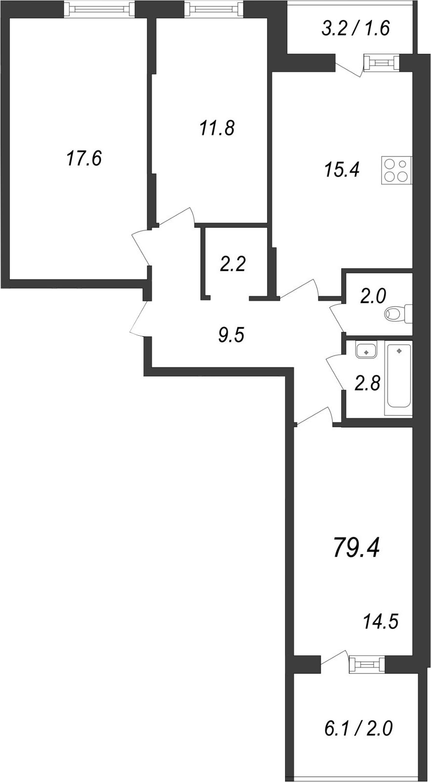 Планировка Трёхкомнатная квартира площадью 85.67 кв.м в ЖК «Энфилд»