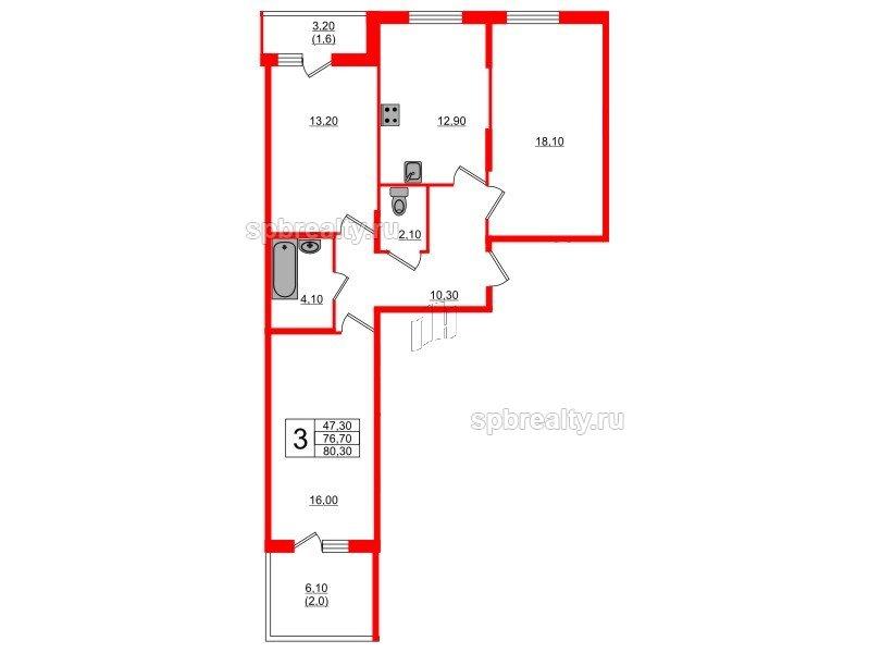 Планировка Трёхкомнатная квартира площадью 80.3 кв.м в ЖК «Энфилд»