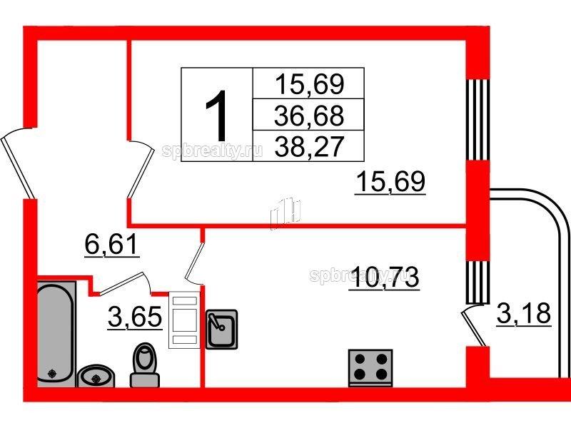 Планировка Однокомнатная квартира площадью 38.27 кв.м в ЖК «Энфилд»